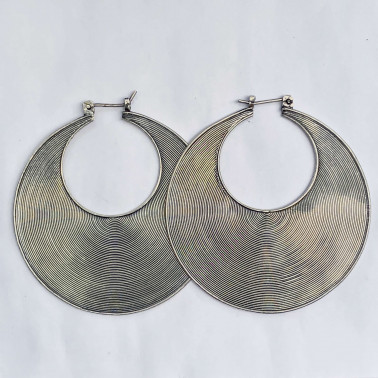 ER 06855 XL-(HANDMADE 925 BALI SILVER WIRED EARRINGS 50 MM)